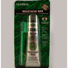 Clubman Brown Moustache Wax With Comb And Brush .5oz